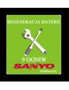 Regeneracja baterii do laptopa - 9 ogniw SANYO 3400mAh