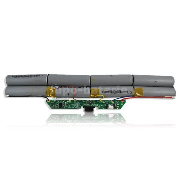 Na obrazku widać ogniwa litowo-jonowe baterii do laptopa wraz z płytką elektroniczną odpowiedzialną za kominikację pomiędzy ogniwami, a laptopem.